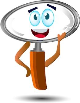 Lindo personaje de mascota de dibujos animados con lupa feliz