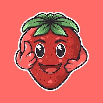 Lindo personaje de mascota de fresa dibujado a mano
