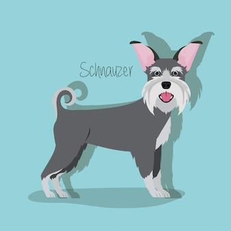 Lindo personaje de mascota de perro schnauzer
