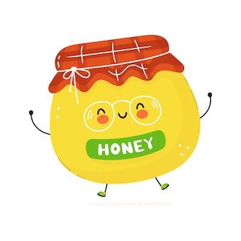 Lindo personaje de miel feliz divertido