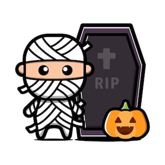Lindo personaje de momia. concepto de halloween