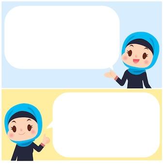 Lindo personaje de mujeres árabes con tablero de mensajes