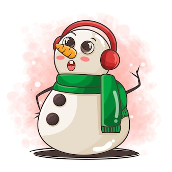 Lindo personaje de muñeco de nieve con ilustración de orejeras