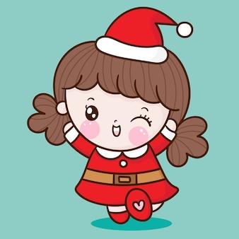 Lindo personaje de navidad de dibujos animados de niña santa claus estilo kawaii