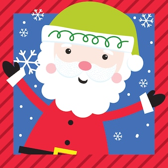 Lindo personaje de navidad con santa claus con marco