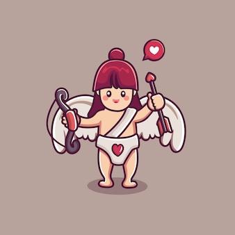 Lindo personaje de niña cupido sosteniendo una flecha y un arco