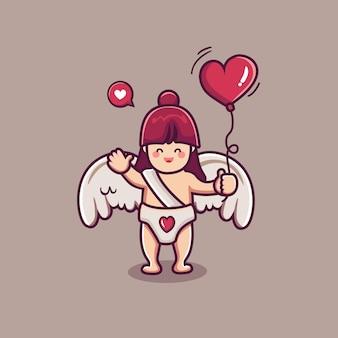 Lindo personaje de niña cupido sosteniendo globo corazón