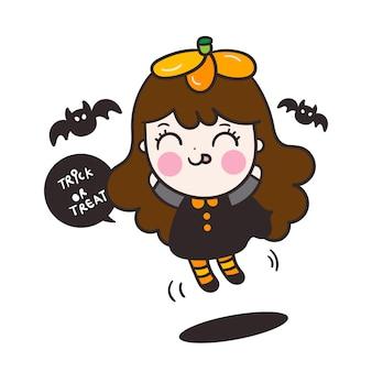 Lindo personaje de niña de halloween con dibujos animados de murciélago