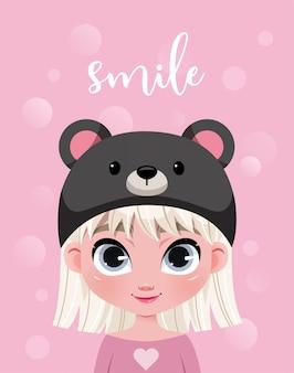 Lindo personaje de niña con sombrero sobre fondo rosa con bokeh