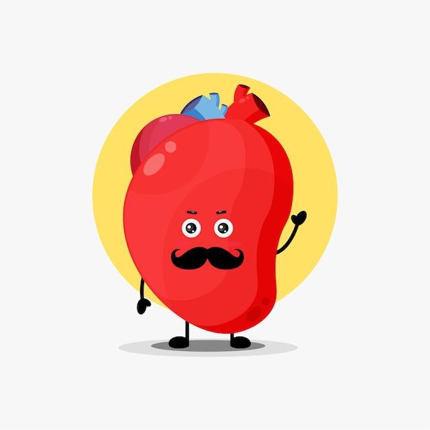 Lindo personaje de órgano de corazón con bigote
