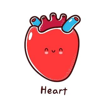Lindo personaje de órgano de corazón humano divertido feliz