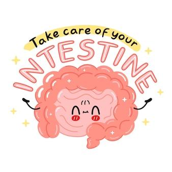 Lindo personaje de órgano de intestino divertido. cuida tu lema de cita de intestino. icono de ilustración de personaje de kawaii de dibujos animados de vector. aislado sobre fondo blanco. órgano humano, concepto de personaje de dibujos animados