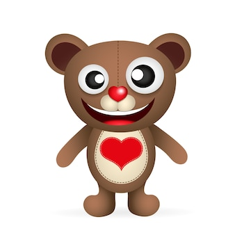 Lindo personaje de oso de peluche marrón