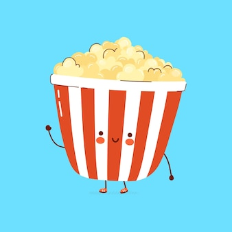 Lindo personaje de palomitas de maíz feliz divertido