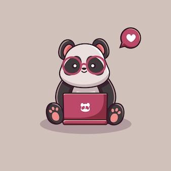 Lindo personaje de panda trabajando en equipo portátil