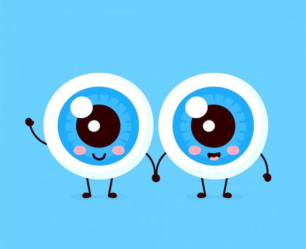 Lindo personaje de pareja de globos oculares humanos sanos felices.