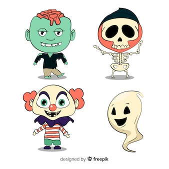 Lindo personaje de pegatinas simplista para halloween