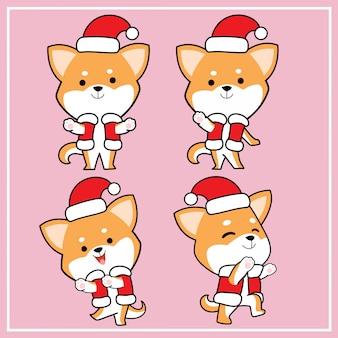 Lindo personaje de perro kaiba shiba inu dibujado a mano con colección de sombreros de navidad