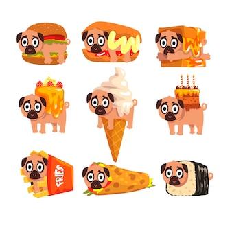 Lindo personaje de perro pug divertido como conjunto de ingredientes de comida rápida de ilustraciones