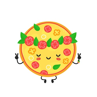 Lindo personaje de pizza vegetariana feliz meditar. diseño de icono de ilustración de dibujos animados plano de vector. aislado. concepto de personaje de pizza