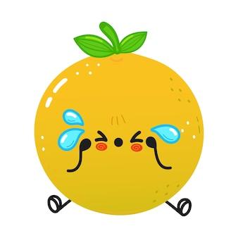 Lindo personaje de pomelo triste y llorando