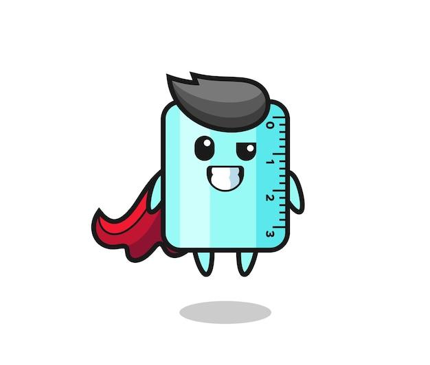 El lindo personaje de la regla como un superhéroe volador, diseño de estilo lindo para camiseta, pegatina, elemento de logotipo