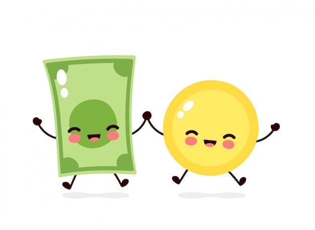 Lindo personaje de salto de moneda y dinero feliz billete.