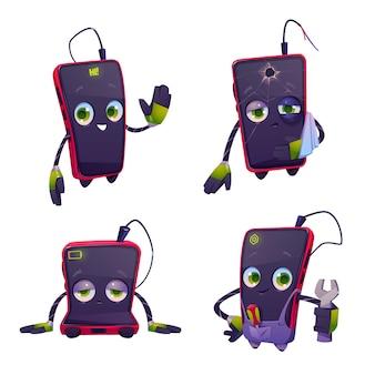 Lindo personaje para el servicio de reparación de teléfonos inteligentes