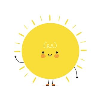 Lindo personaje de sol feliz divertido