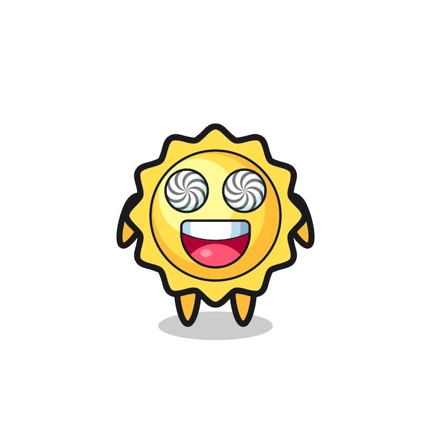 Lindo personaje de sol con ojos hipnotizados, diseño de estilo lindo para camiseta, pegatina, elemento de logotipo