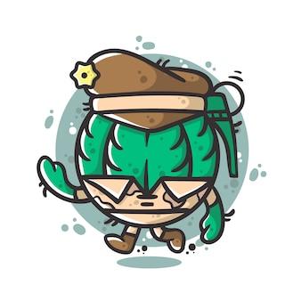 Lindo personaje de soldado de granada dibujado a mano