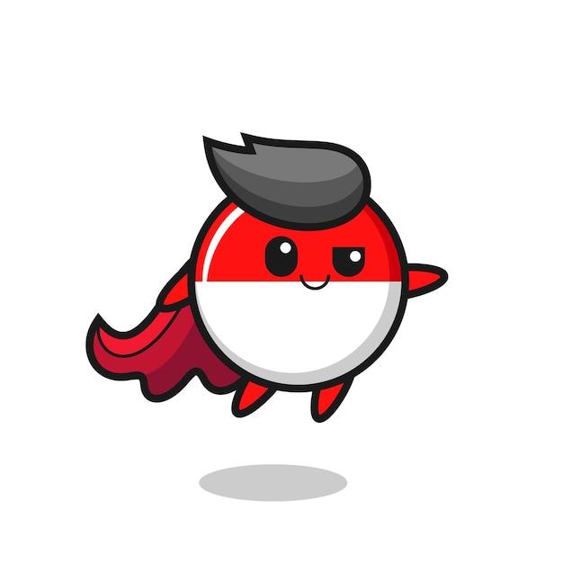 Lindo personaje de superhéroe de la insignia de la bandera de indonesia está volando, diseño de estilo lindo para camiseta, pegatina, elemento de logotipo