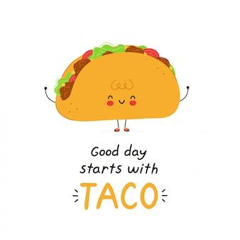 Lindo personaje de taco feliz. aislado en blanco diseño de ilustración de personaje de dibujos animados de vector, estilo plano simple. el buen día comienza con la tarjeta de taco.