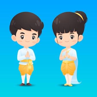 Lindo personaje tailandés de niño y niña en traje tradicional en acción de saludo