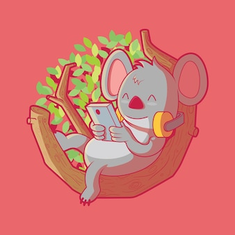 Lindo personaje de tecnología koala en la ilustración de vector de naturaleza concepto de diseño divertido de marca de tecnología