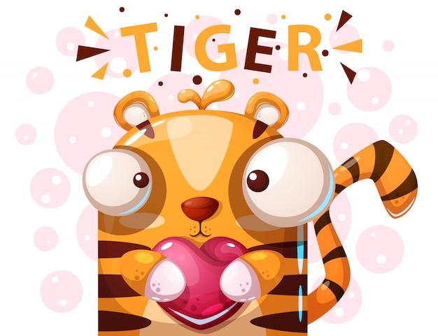 Lindo personaje de tigre - ilustración de dibujos animados
