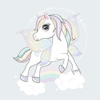 Lindo personaje de unicornio con alas de mariposa volando en los cielos