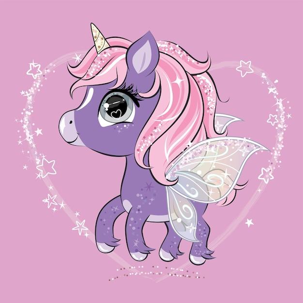 Lindo personaje de unicornio con alas de mariposa.