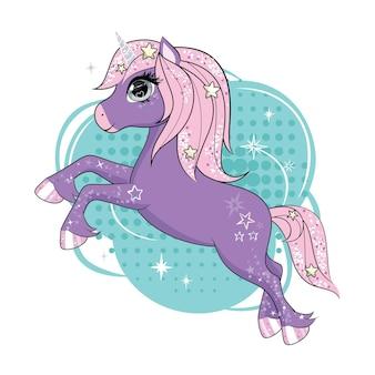 Lindo personaje de unicornio volando en los cielos.