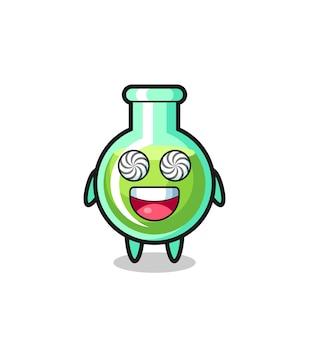 Lindo personaje de vasos de laboratorio con ojos hipnotizados, diseño de estilo lindo para camiseta, pegatina, elemento de logotipo