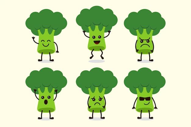 Lindo personaje vegetal de brócoli aislado en múltiples expresiones