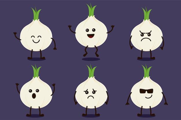 Lindo personaje vegetal de cebolla aislado en múltiples expresiones