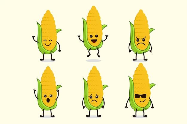 Lindo personaje vegetal de maíz aislado en múltiples expresiones
