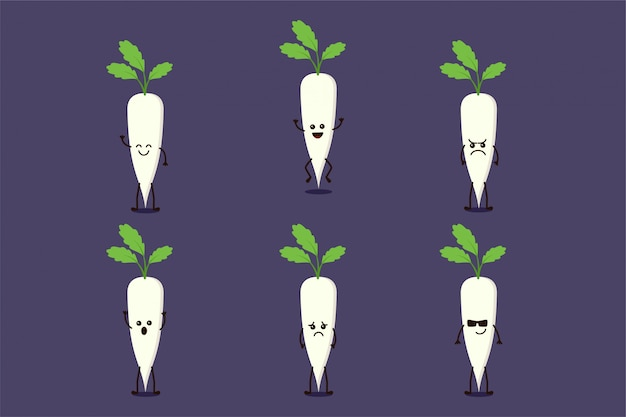 Lindo personaje vegetal de nabo aislado en múltiples expresiones