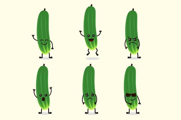 Lindo personaje vegetal de pepino aislado en múltiples expresiones
