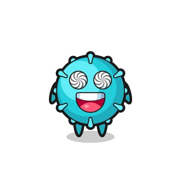 Lindo personaje de virus con ojos hipnotizados, diseño de estilo lindo para camiseta, pegatina, elemento de logotipo