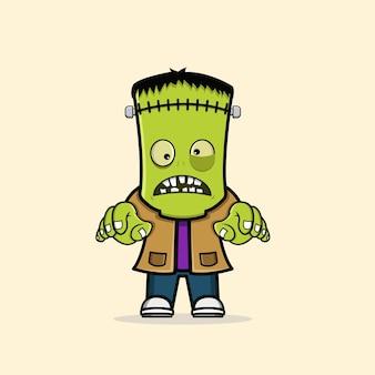 Lindo personaje de zombie frankenstein vector gratuito