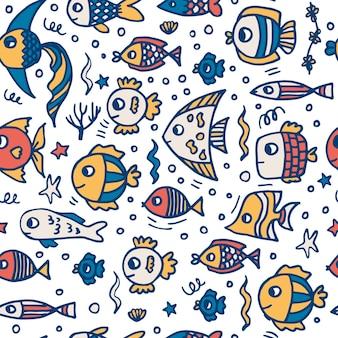Lindo pez amarillo y azul. patrón sin costuras.