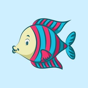 Lindo pez de ángulo dorado con escala de patrón rosa