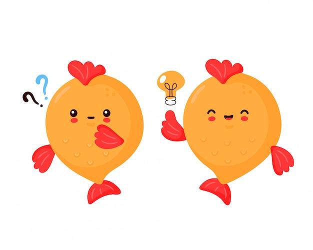 Lindo pez gracioso feliz. diseño de ilustración de personaje de dibujos animados de vector. aislado